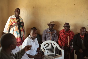 Giving a presentation to the community elders about Sadhana Forest Kenya