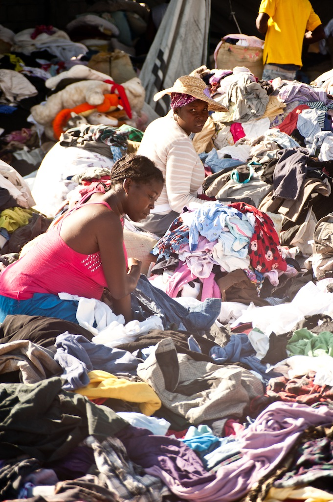 Aid clothes sorted in Haiti