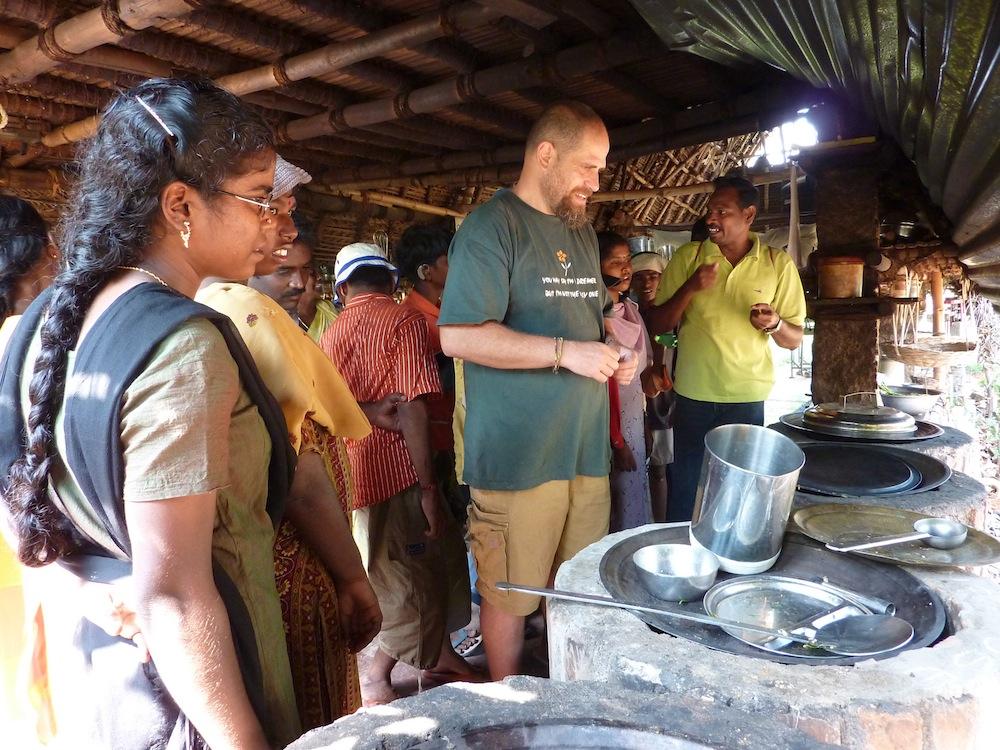 Aviram explaing about rocket stoves