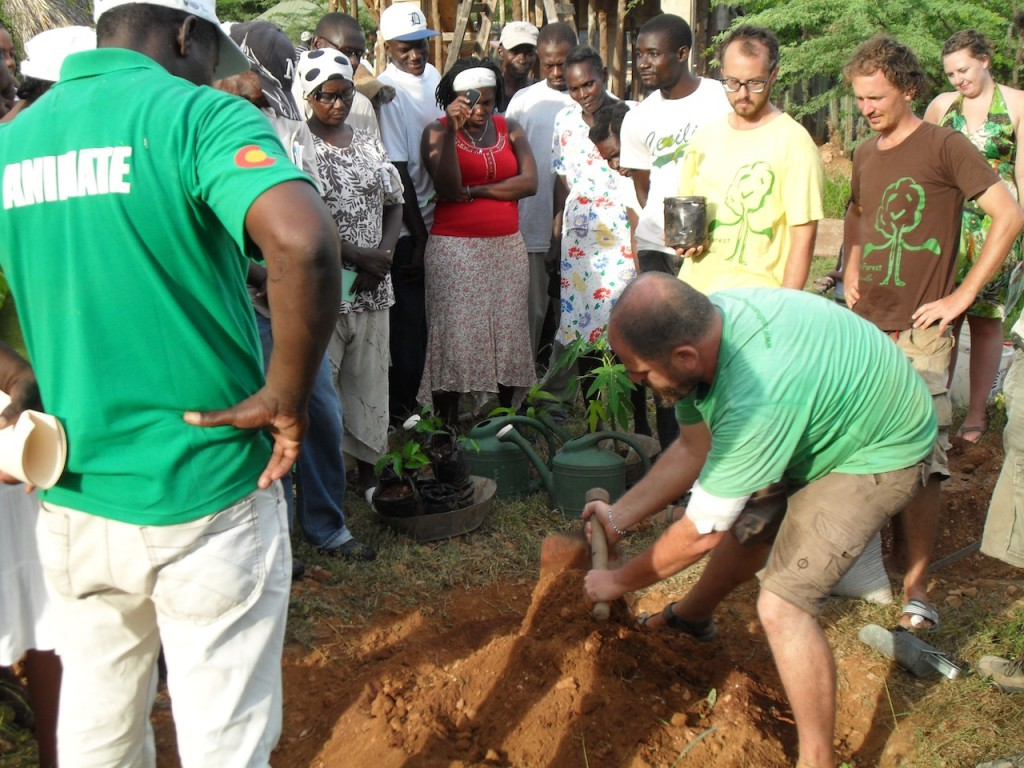 Aviram giving tree planting training Haiti