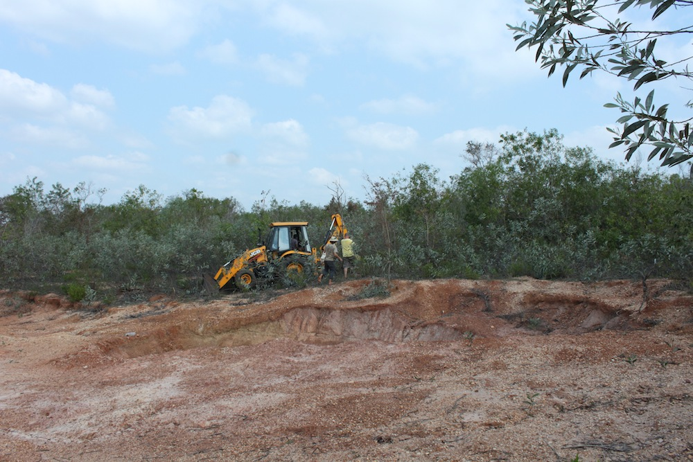 Aviram with JCB water conservation work in the forest