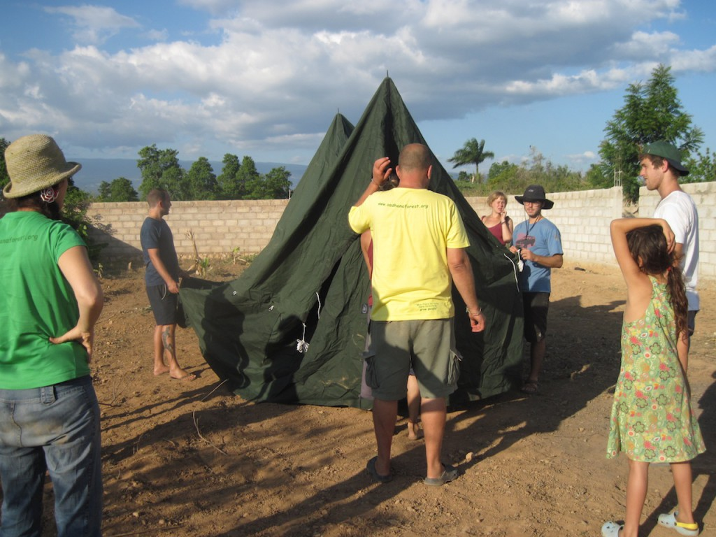Constructing tent on the land