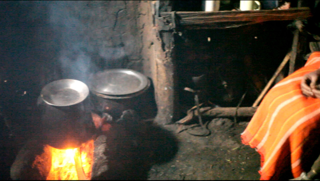 Inside a Samburu house - Cooking on open fires creates a lot of smoke which leads to respiritory problems
