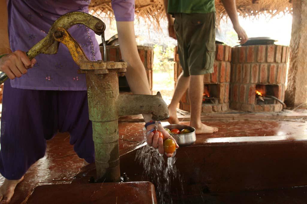Pumping water with handpump