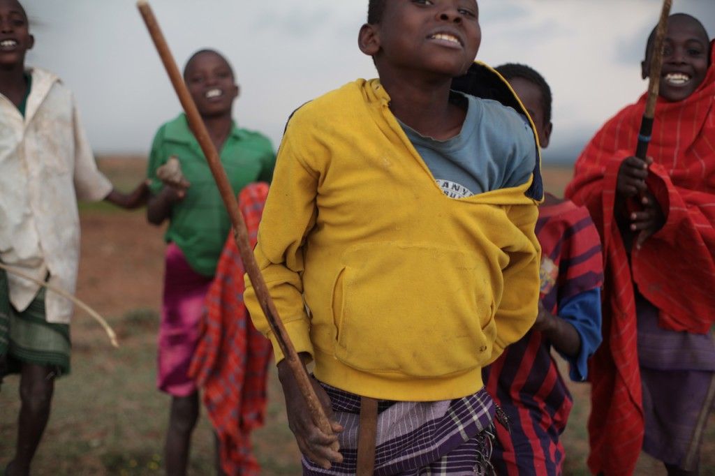 Samburu children dancing