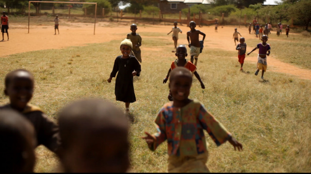 School kids running next to Chiefs office