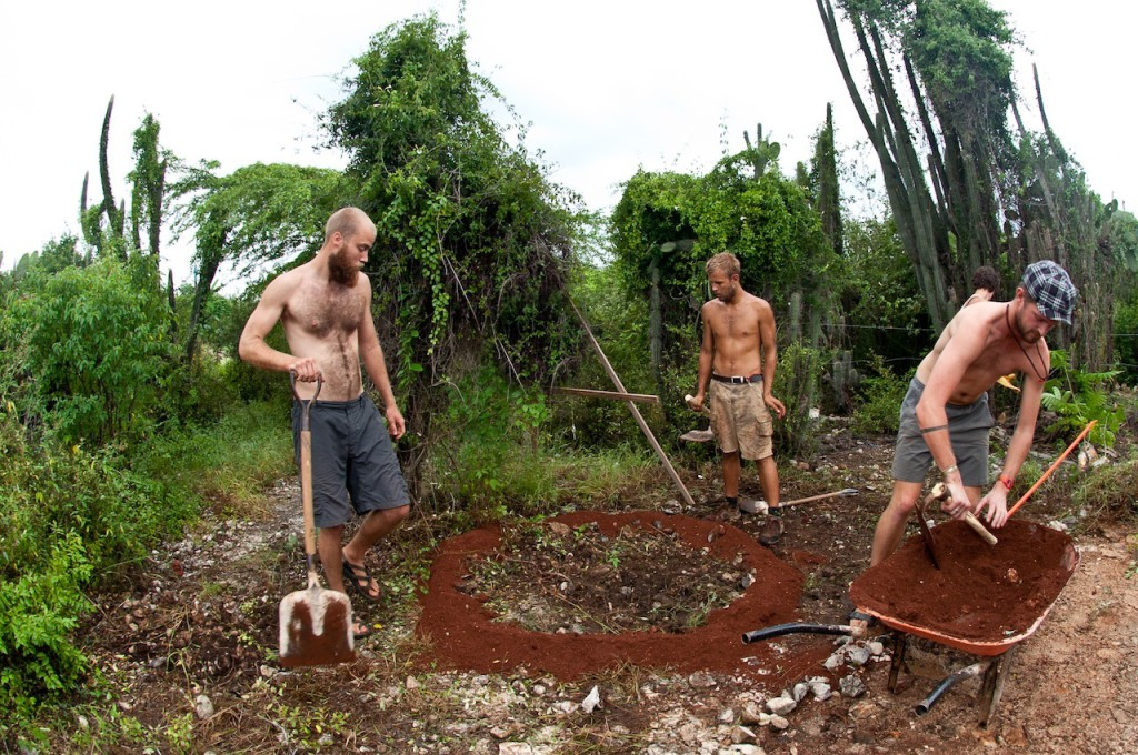 Volunteers creating permaculture sponge (2)