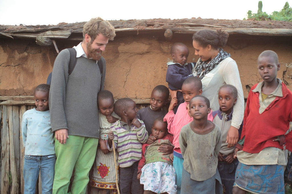 Yoav and Brooke with Samburu kids