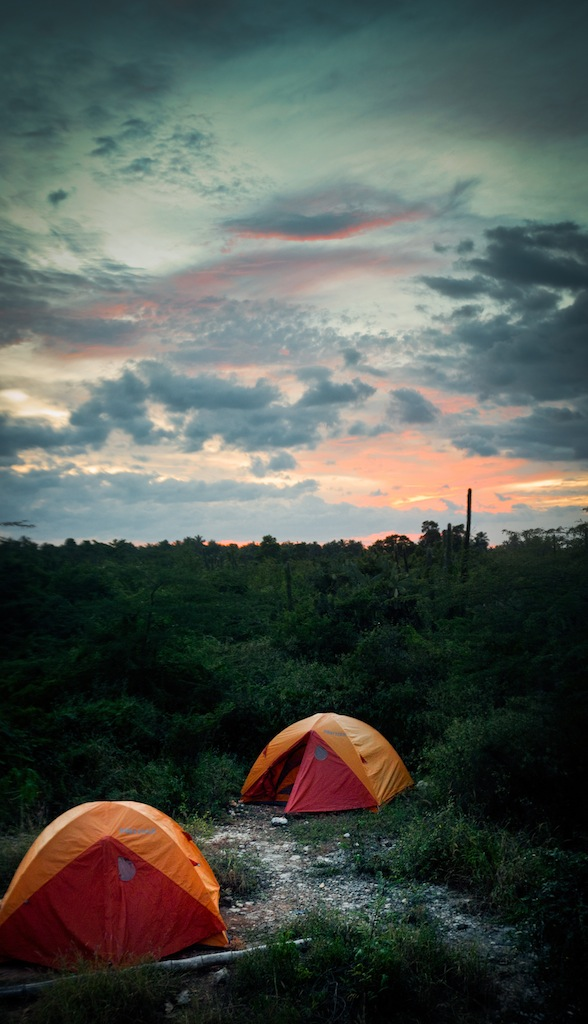 Tent sunset Sadhana Forest Haiti