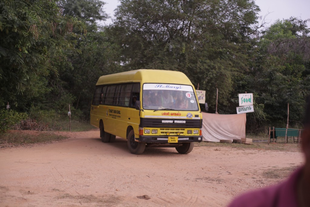 Buses arriving from Auroville center