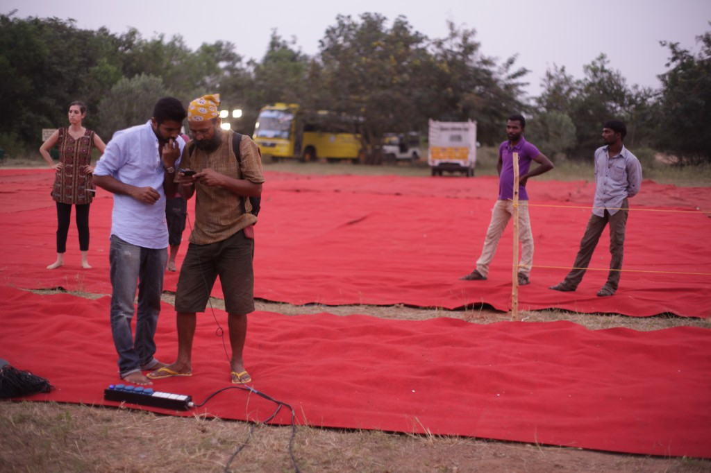 Mithun and Harsh setting up sound