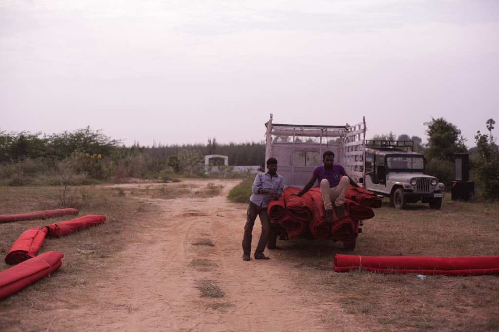 Preparing carpets for venue