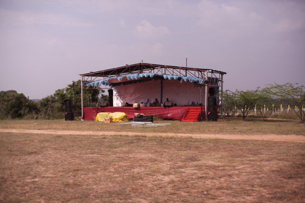 Stage being built
